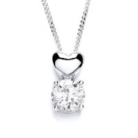 Purity 925 Silver CZ Heart Pendant & Chain PUR1694P