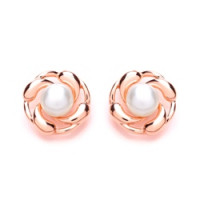 Purity 925 Silver & Rose Gold Plated Freshwater Pearl Stud Earrings PUR3526ES
