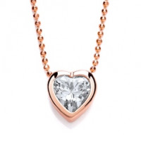 "Purity 925 Silver & Rose Gold Plated CZ Heart Pendant & 18"" Chain PUR3606/1"