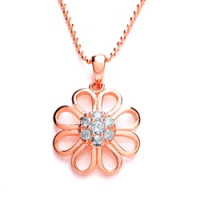 Purity 925 Silver & Rose Gold CZ Pendant  & Chain PUR3645P