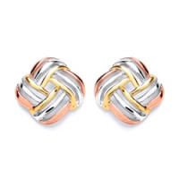 Purity 925 Silver 3 Colour Stud Earrings PUR3679ES