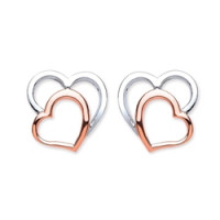 Purity 925 Silver & Rose Gold Detail Heart Stud Earrings PUR3745ES
