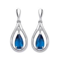 Purity 925 Silver Blue Crystal Earrings PUR3781ED
