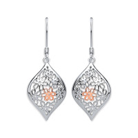 Purity 925 Silver & Rose Gold Detail Drop Earrings PUR3845ED