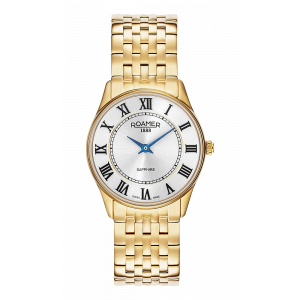 Roamer Ladies Gold Plated White Dial Sonata Bracelet Watch 520820-48-15-50