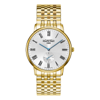 Roamer Gents Gold Plated White Dial Galaxy Bracelet Watch 620710-48-15-50