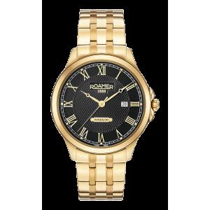 Roamer Gents Gold Plated Black Dial Windsor Watch 706856-48-52-70