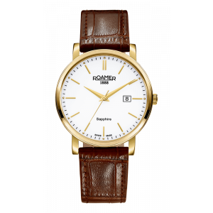 Roamer Gents Classic Line Gold Plated Brown Leather Strap Watch 709856-48-25-07