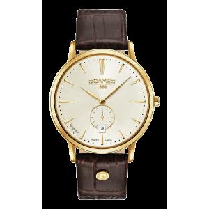 Roamer Gents Vanguard Slimline Gold Plated Brown Strap Watch 980812-48-35-09