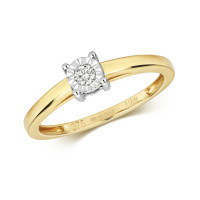 9ct Gold 0.06ct Diamond Illusion Plate Solitaire Ring TL-RD138