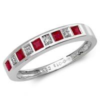 9ct White Gold Ruby & Diamond Half Hoop Ring TL-RD217WR