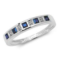 9ct White Gold Sapphire & Diamond Half Hoop Ring TL-RD217WS