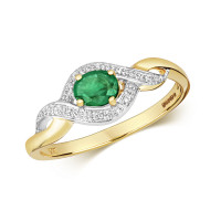 9ct Gold Diamond & Oval Emerald Ring TL-RD435E
