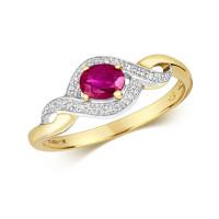 9ct Gold Diamond & Oval Ruby Ring TL-RD435R