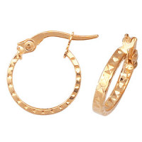 9ct Gold Diamond Cut Hoops