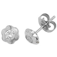 9ct White Gold Daisy Studs