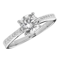 Silver CZ Single Stone with Stone Set Shoulders Ring TL-G7445