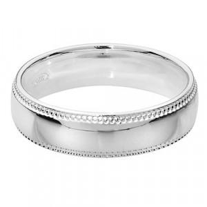 Silver Millgrain 5mm Court Wedding Ring G7755