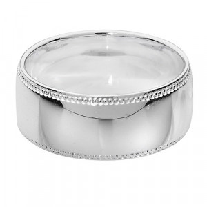 Silver Wide Millgrain Wedding Ring G7758
