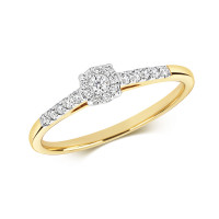 9ct Gold Diamond Brilliant Cut Illusion Solitaire Ring RD696