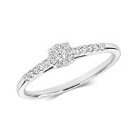 9ct White Gold Diamond Brilliant Cut Illusion Solitaire Ring RD696W