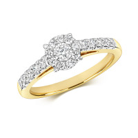 9ct Gold Diamond Brilliant Cut Illusion Solitaire Ring RD699