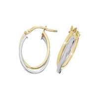 9ct Gold Yellow & White Oval Double Hoop Earrings TL-ER1011