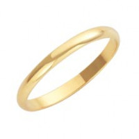 9ct Yellow D Shape 2mm Wedding Band