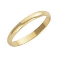 9ct Yellow D Shape 3mm Wedding Band