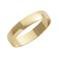 9ct Yellow D Shape 4mm Wedding Band