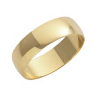 9ct Yellow D Shape 6mm Wedding Band