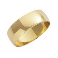 9ct Yellow D Shape 7mm Wedding Band