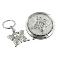 SOPHIA COMPACT & KEYRING SET - BUTTERFLY 14818