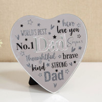 MIRROR HEART PLAQUE WITH 3D TITLE - DAD 61457D
