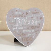 MIRROR HEART PLAQUE WITH 3D TITLE - FRIEND 61457FR