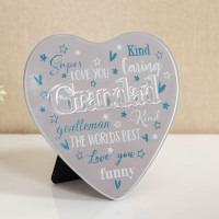 MIRROR HEART PLAQUE WITH 3D TITLE - GRANDAD 61457GD