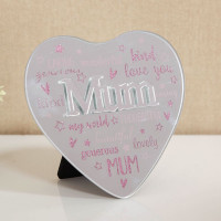 MIRROR HEART PLAQUE WITH 3D TITLE - MUM 61457M