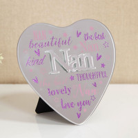 MIRROR HEART PLAQUE WITH 3D TITLE - NAN 61457N