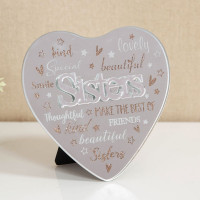 MIRROR HEART PLAQUE WITH 3D TITLE - SISTERS 61457S