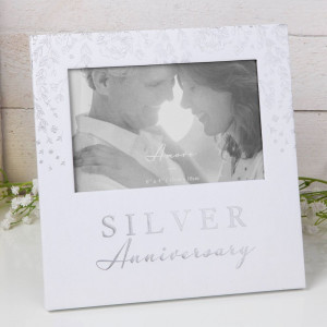"""6"""" X 4"""" - AMORE BY JULIANA® PHOTO FRAME - SILVER ANNIVERSARY AM11525"""