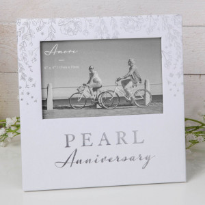"""6"""" X 4"""" - AMORE BY JULIANA® PHOTO FRAME - PEARL ANNIVERSARY AM11530"""