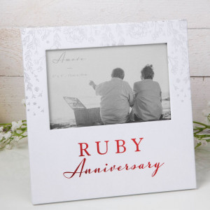 """6"""" X 4"""" - AMORE BY JULIANA® PHOTO FRAME - RUBY ANNIVERSARY AM11540"""