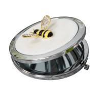 SOPHIA SILVERPLATE & CRYSTAL BUMBLE BEE COMPACT MIRROR SP1964