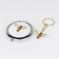 SOPHIA SILVERPLATED BUMBLE BEE COMPACT MIRROR & KEYRING SET SP3050
