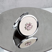 SOPHIA SILVERPLATE PINK FLORAL COMPACT MIRROR SP3054