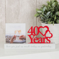 "4"" X 4"" - CELEBRATIONS CUT OUT PHOTO FRAME - 40 YEARS PRODUCT CODE: WG100740"