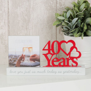 """4"""" X 4"""" - CELEBRATIONS CUT OUT PHOTO FRAME - 40 YEARS PRODUCT CODE: WG100740"""