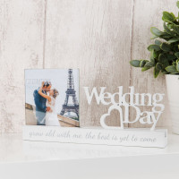 "4"" X 4"" - CELEBRATIONS CUT OUT PHOTO FRAME - WEDDING DAY PRODUCT CODE: WG1007WD"