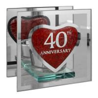 GLASS TEALIGHT HOLDER - 40TH ANNIVERSARY WG56040