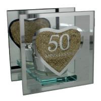 Golden 50th Wedding Anniversary Tea Light Holder Mirrored Glass